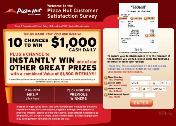 Pizza Hut Customer Satisfaction Survey WwwTellpizzahutCom