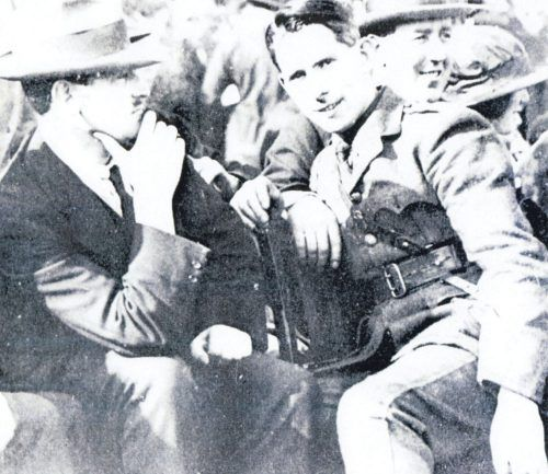 Michael Collins, Commandant McKeown and Harry Boland at the 25 September 1921 hurling match between Dublin and Leix in aid of the Irish Republican Prisoners' Dependents Fund.