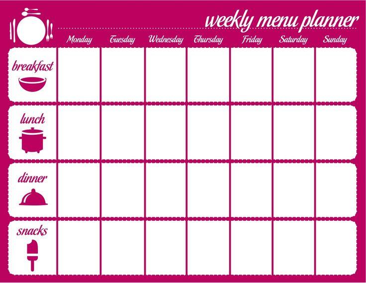 Great Weekly Menu Planner Template By Fellowes, Inc. Via Slideshare