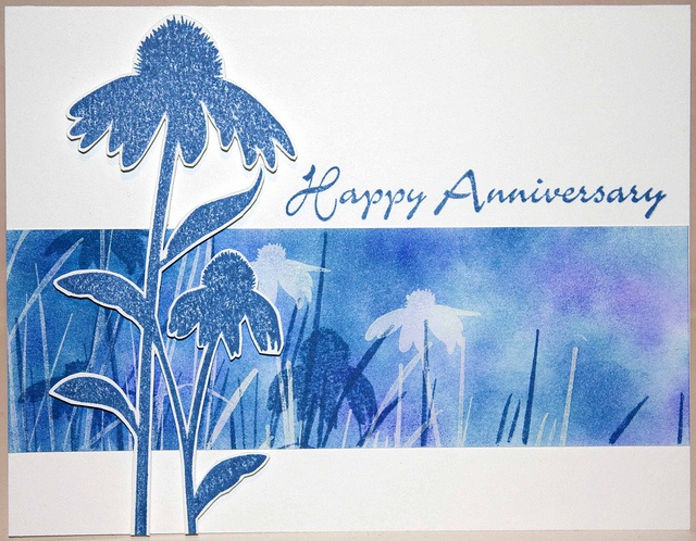 Anniversary Card by ArtKeepsMeSane (Kim), via Flickr  using white Stazon ink - acts as a mask with dye-based inks