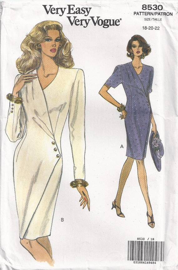 Plus Size 18 20 Or 22 Sewing Pattern Mock Wrap Dress by Rosie247, $4.00