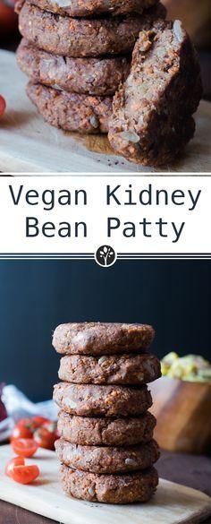 Vegan Burger Patties made with kidney #beans // Vegane Bohnen Bratlinge auf www.eat-vegan.de
