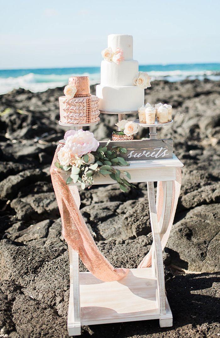Rose Gold Glam Beach Wedding Dessert Display  #wedding #cake #weddingcake #hawaii #destinationwedding #beachwedding #weddingdress