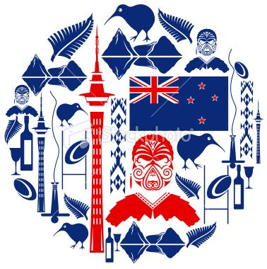 New Zealand Icon Montage Royalty Free Stock Vector Art Illustration