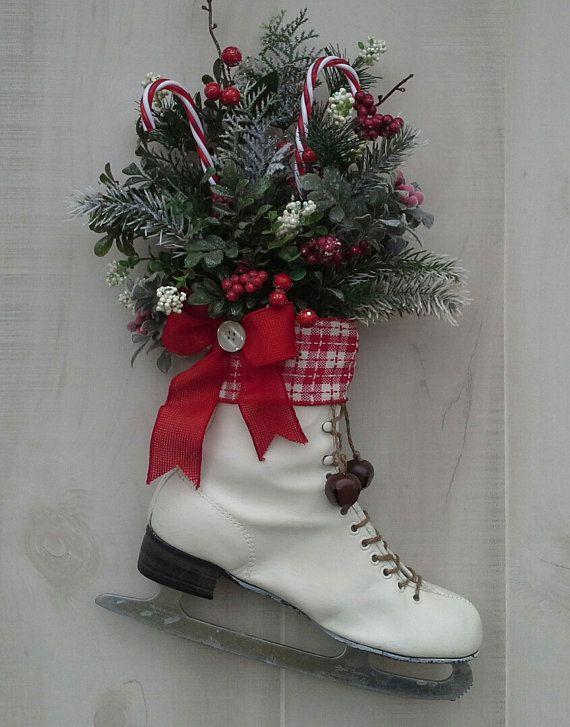 Christmas decor, Decorated Ice Skate, Christmas Ice skate ...