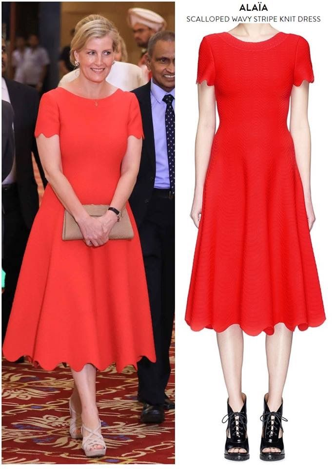 Image result for sophie wessex in red alaia dress