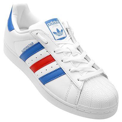 adidas superstar azul e branco