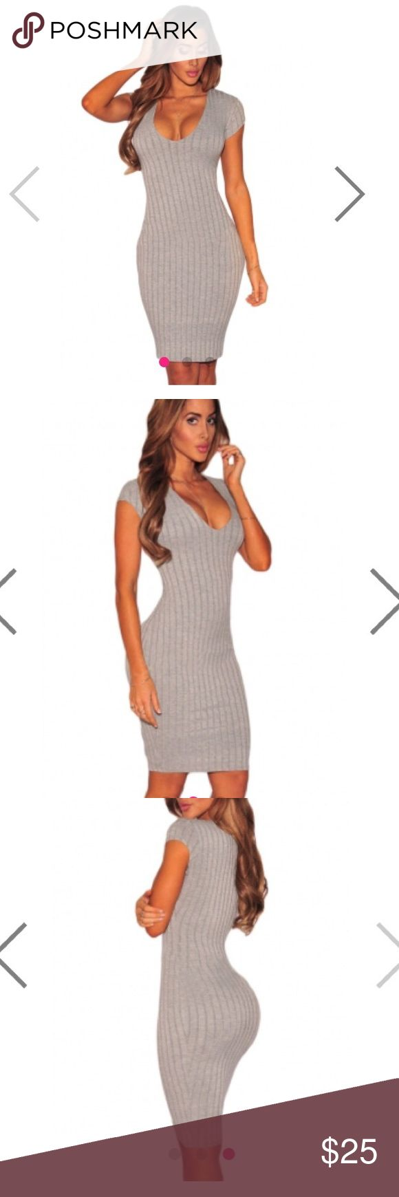 Grey ribbed midi bodycon dress hot Miami styles s This dress is perfect for any occasion. Bodycon style hugs your curves gives an hourglass illusion. Deep plunging neckline. Ribbed material. Item is unbranded, only listed as hot Miami styles for views. Brand new in packaging. Size small hot miami styles  Dresses Midi