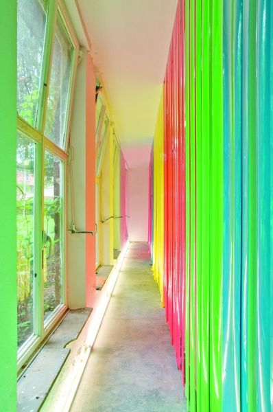 Neon installation.   It's funny see how colors work, despite being flashy colors create a relaxed atmosphere.