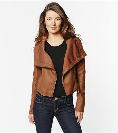 Top off any look with this fabulous and edgy ambre faux leather jacket!