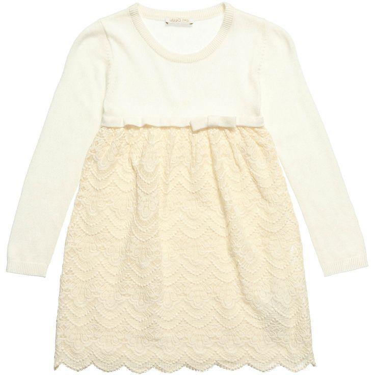 ABITO LIU JO BABY,  #Abito da #bambina di Liu Jo #Baby color ecrù con sovrapposizione in #pizzo di cotone #macramè, manica lunga, girocollo, fiocco decorativo, logo dorato. #LiuJo http://www.abbigliamento-bambini.eu/compra/abito-liu-jo-baby-2712176