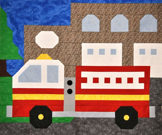 Fire Truck Quilt Pattern In Multiple Sizes From Small