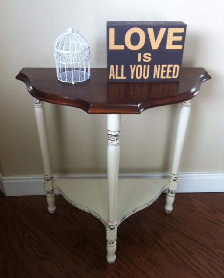 Vintage half moon table with lower shelf. Top is stained in Walnut, and the base is painted in AS Old White, and distressed.   ~The Decor Vault~ www.facebook.com/thedecorvault