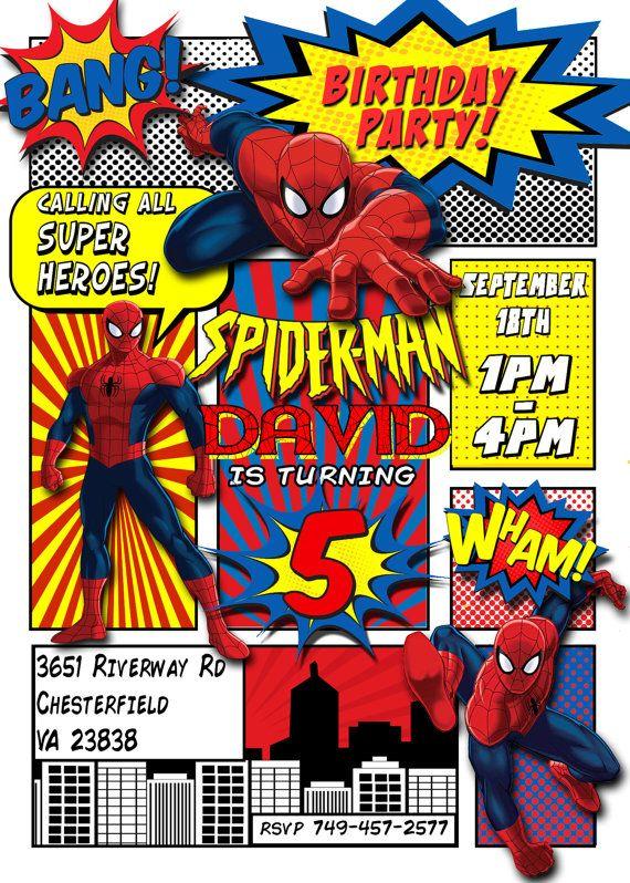 spiderman invitation spiderman birthday party comic book