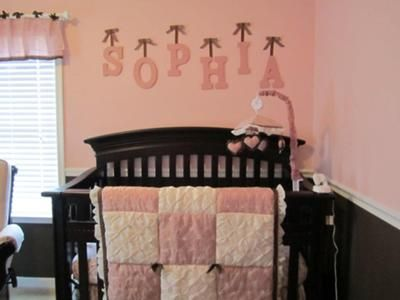 pink and brown baby bedding   Sophia's Pink and Brown Nursery