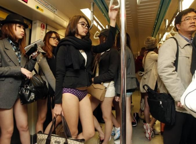 Meanwhile On A Subway In Asia In This Picture: Photo of girls on subway in Asia