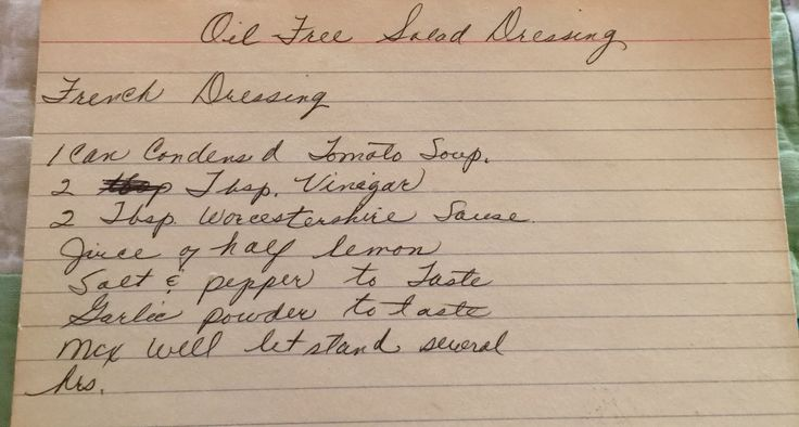 Homemade Oil-Free French Salad Dressing -- vintage recipe