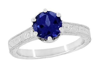 Art Deco Crown Filigree Scrolls 1.5 Carat Blue Sapphire Engraved Engagement Ring in 18K White Gold | Simple Antique Sapphire Engagement Ring Design $2,105.00 http://www.antiquejewelrymall.com/r199w1s.html