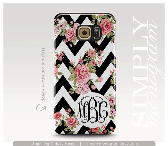 Samsung Galaxy S5 Case, Personalized Galaxy S6 Case, Samsung Galaxy Case, Black Chevron Monogram Case, Floral Galaxy S6 Case, Phone Cover