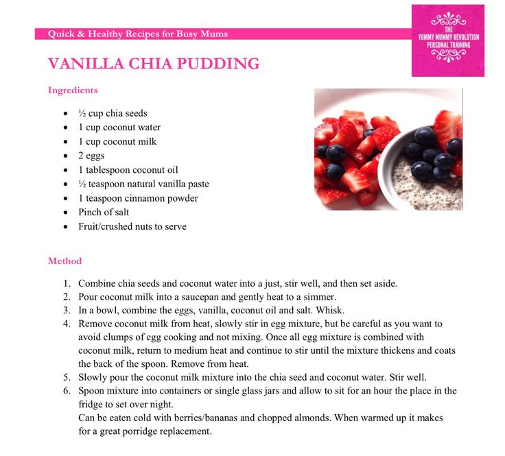 Vanilla Chia Pudding  Just one of the delicious recipes in the YMR Quick & Healthy Recipes for Busy Mums eBook.   Contact ymrpersonaltraining@gmail.com to receive your free copy.   #yummymummyrevolution