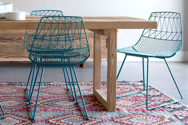 Modern turquoise metal chairs with natural wood dining table | Lucy Chair by Bend