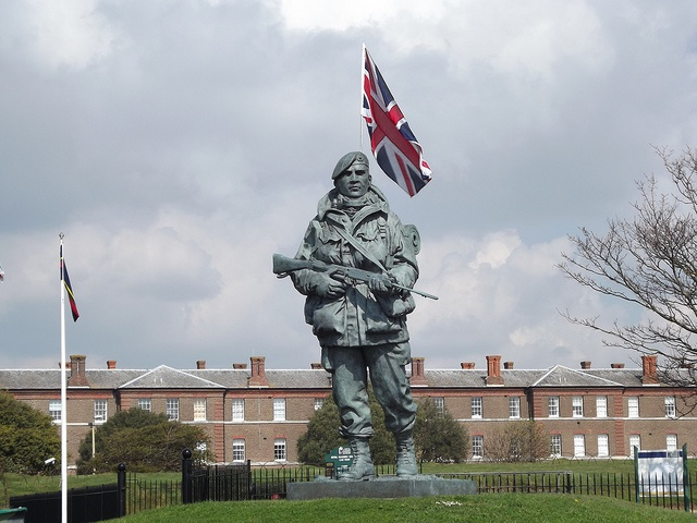 Royal Marine Statue outside the Royal Marine Museum in Southsea - he is shown yomping the phrase made famous during the Falklands War in 1982 when the Royal Marines walked across the Falklands and into battle.