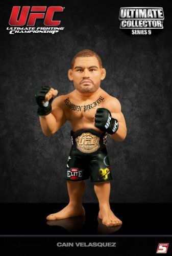 Ultimate Collector Series 9 Cain Velasquez (Championship Edition with Belt) by UFC. $18.95. Includes fighter photos and bios. The Official Collectable of the UFC. 6' tall action figure. Multiple points of articulation. Signature Fighter Poses with authentic fight worn shorts. From the Manufacturer                Cain Velasquez walked to the octagon at UFC 121 to challenge Brock Lesnar for the heavyweight title carrying a Mexican flag bandana and a perfect 8-0 record. A...