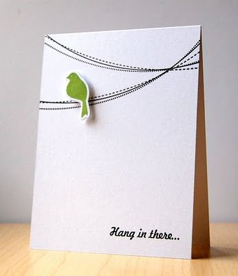 Hang in there card. Unbelievably easy. Cut a card any size. And a small bird from cricut cartridge of choice. Black marker some lines in. Voilà! Cricut card complete.