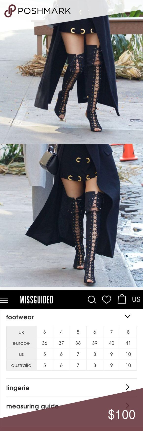 Over the knee lace up gladiator boots Kylie Jenner has the same ones, when she came out on her app where she got them I went and bought them for $120.00. There from missguided only worn for a couple hours then never again. U.S. Size 7. Asking $100 or OBO Missguided Shoes Over the Knee Boots