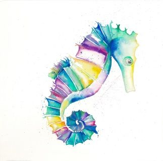 Seahorse in watercolour, part of the 'Tropical Waters' range by Stephanie Elizabeth Artwork.