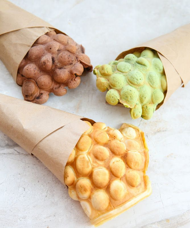 These ice cream cones, made with Hong Kong style egg waffles (sometimes referred to as eggettes or egg puffs), are inspired by the Puffle Waffle Cones served at Cauldron Ice Cream in Santa Ana. I've already shared my love for egg waffles and my recipe for them. Making them into an ice cream cone is …