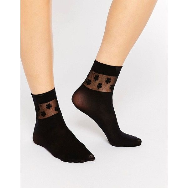 Gipsy Daisy Ankle High Two Pack Socks (£4.77) ❤ liked on Polyvore featuring intimates, hosiery, socks, black, ankle high hosiery, sheer socks, gipsy, sheer hosiery and ankle high socks