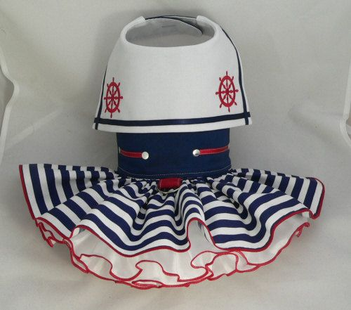 Small dog harness dress.Sailor by poshdog on Etsy, $65.00