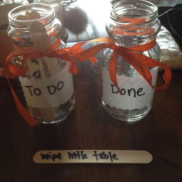 Made these cute chore jars and chore sticks out of old salsa jars and Popsicle sticks for my 5 year old!