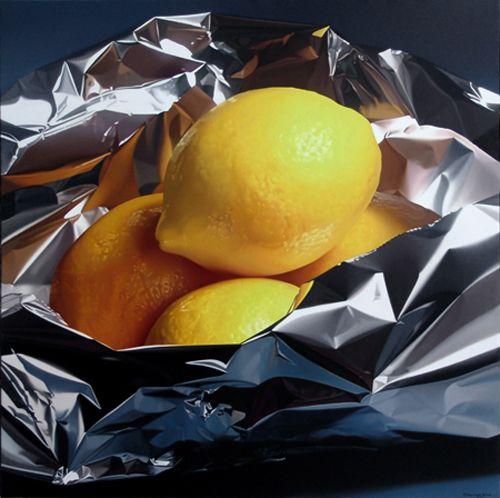 P | 写実・アルミホイル、レモン