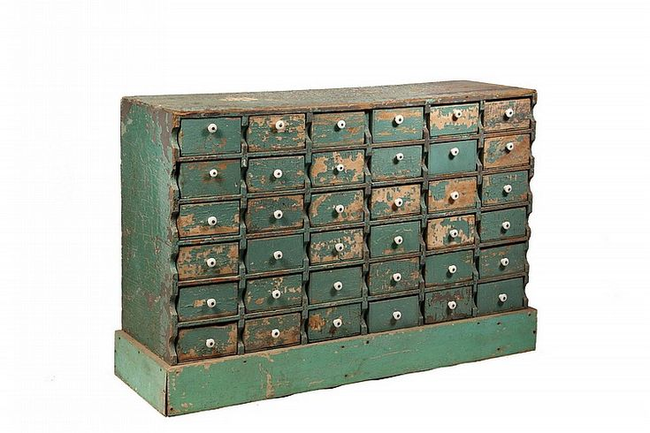 Apothecary Chest With Ceramic Drawers