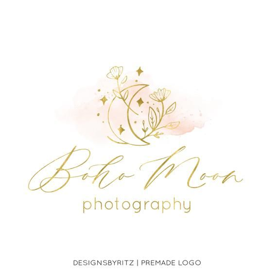 Premade Logo Design Photography Logo And Watermark Watercolor