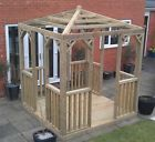 3m X 3m WOODEN GAZEBO WOOD PERGOLA SPINDLES TANALISED TIMBER HOT TUB COVER