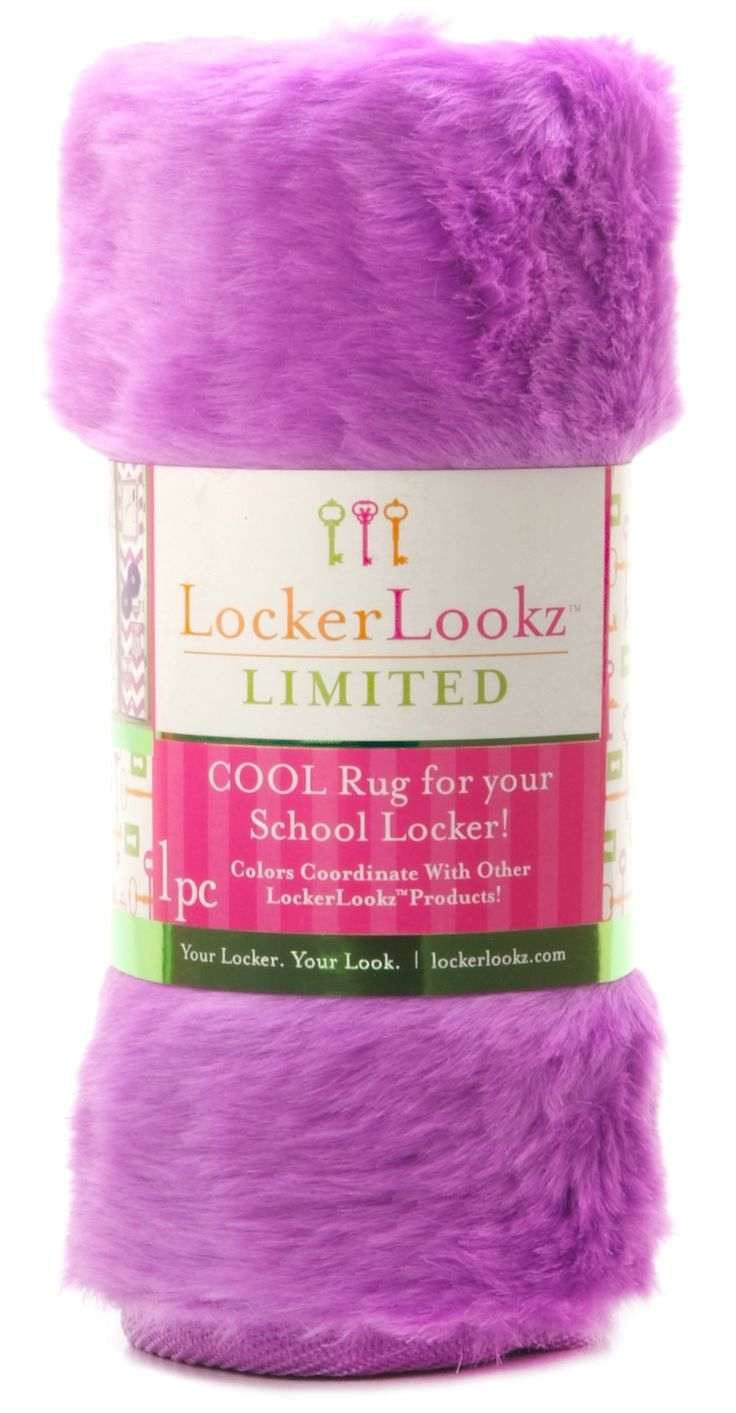 Purple Plush Faux Fur Locker Rug: This bright plush, faux fur locker rug adds eye-popping color to your locker floor. Add other fun accessories to turn a boring, metal locker into a cool place to store your stuff!