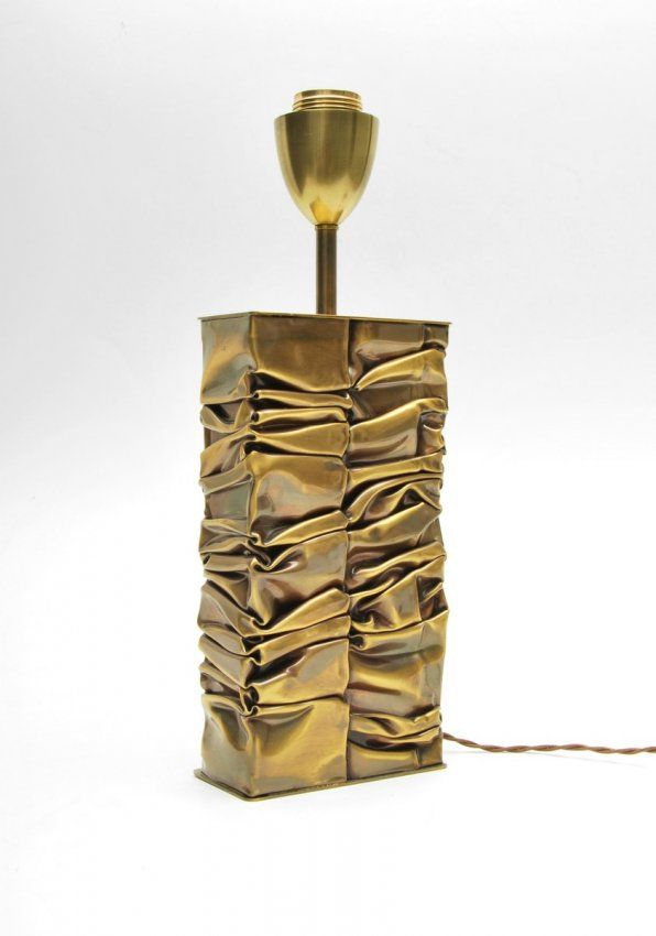 Fine crumpled brass lamp by S. Moniquet; c. 1970 (Key Word Search: French, Chervet, Maison Bagues, Mategot, Royere, Duval-Brasseur, Adnet, Poillerat, brutalist, Paul Evans)  Dimensions: 15h, 5.25w, 2.75d