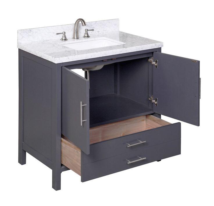 California 36-inch Vanity (Carrara/Charcoal Gray) – KitchenBathCollection