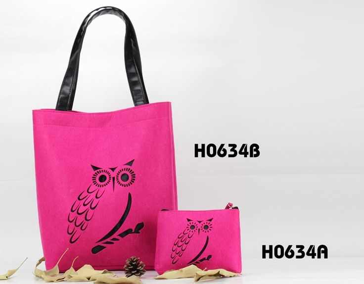 felt tote bag and felt cosmetic bag with owl