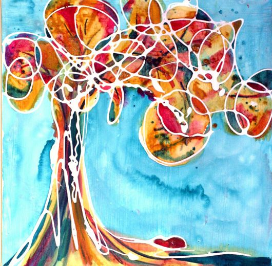 abstract tree - so bright and imaginative. Could try with warm/cool colors.