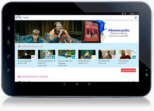 UX design example: Elisa Viihde Android tablet - Main