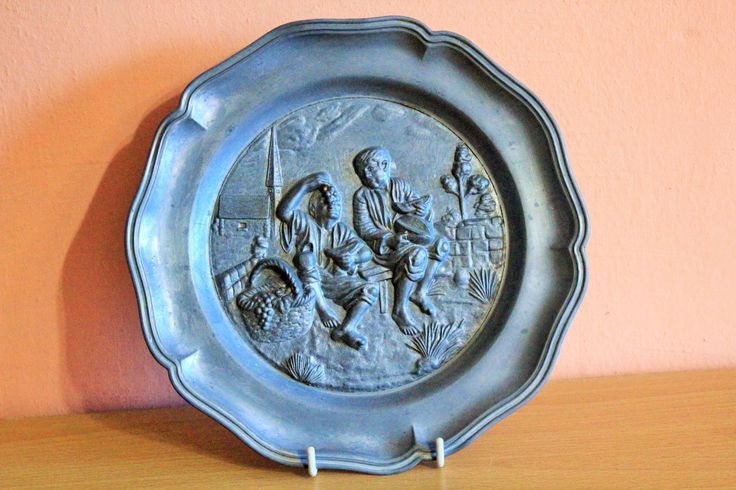 Vintage Rein Zinn Pewter Wall Plate Boy Eating Grapes Angel Stamp Angel Mark Wall Plaque Tile Farmhouse Home Decor, Shabby Chic Rustic by Grandchildattic on Etsy