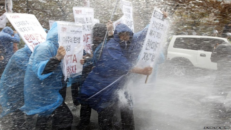 Protesters protesting the Korea-US FTA in Seoul. A near daily-occurrence of late.