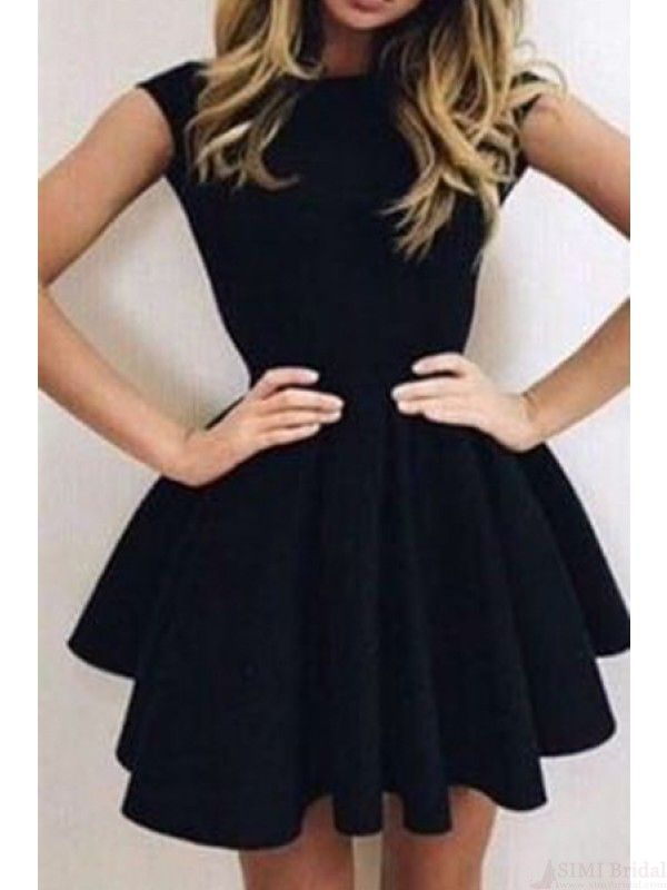 Black Round Neck Backless Short Homecoming Dresses Cocktail Dresses(ED1278)