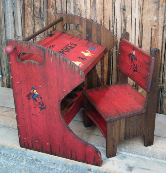 Rustic Western Wood Kid's Desk and  Chair, Kid's Desk with Chair, Furniture for Kid's Room