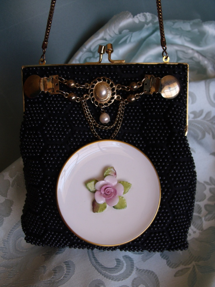 Black Beaded evening purse handbag clutch with bone china and vintage collar clip.