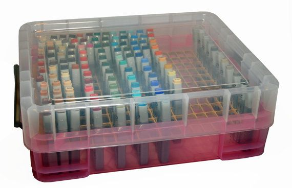 This item is a bin and insert to hold 209 Copic marker refills. The bin has a lid and handles so it can be moved easily to other rooms. It is stackable so that you are able to stack severals bins to store additional Copic refills. It will also stack nicely on top of the Copic Marker Storage bin listing in our shop.  The refill grid is made out of 1/4 unpainted MDF board with slots cut specifically to fit Copic refills. It is not recommended setting this bin on its side. * Holds 209 Copic...